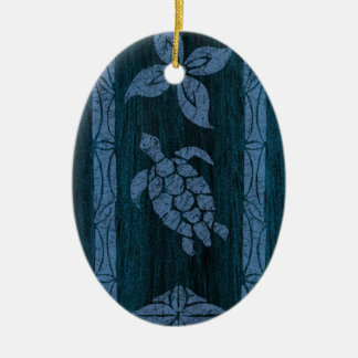Samoan Tapa Hawaiian Faux Wood Surfboard Ceramic Ornament