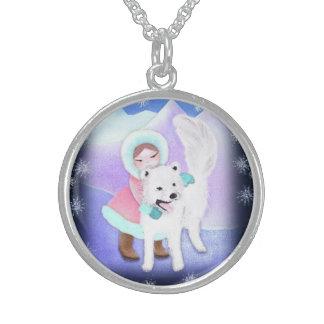 Samojed dog  and girl in arctic landscape pendants