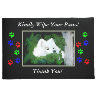 "Samoyed 18x24""or 24X36"" ""Wipe Your Paws"" Door Mat"