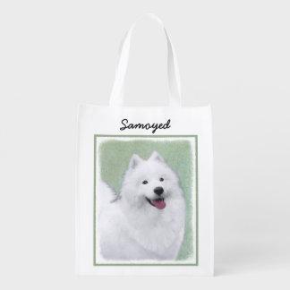 Samoyed 2 Painting - Cute Original Dog Art Reusable Grocery Bag