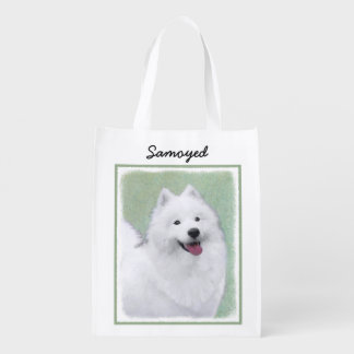 Samoyed 2 reusable grocery bag
