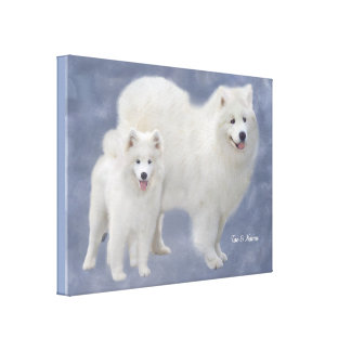 Samoyed Art Wrapped Canvas 24X18""