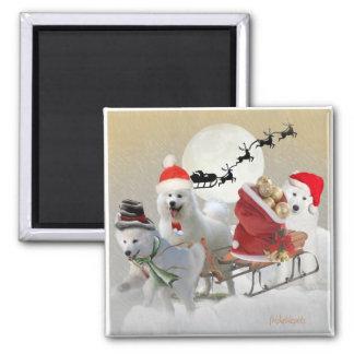 Samoyed Christmas Magents Square Magnet
