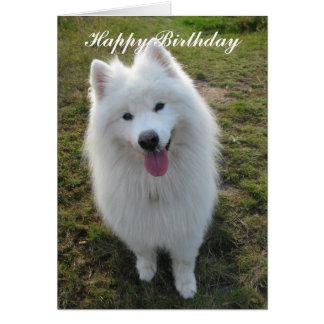Samoyed dog happy birthday greeting card
