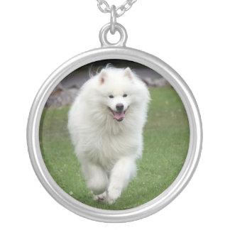Samoyed dog necklace, gift idea round pendant necklace