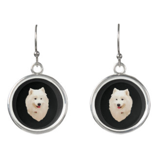 Samoyed Drop Earrings; Matching Necklace See Descr Earrings