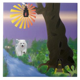 Samoyed Enchanted Forest 6X6 Ceramic Tile