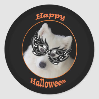 Samoyed Halloween Stickers, 2 sizes, Glossy/Matte Classic Round Sticker