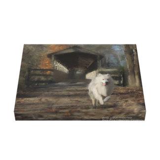 """Samoyed Hand Painted Premium Canvas Print 11X14"""""""