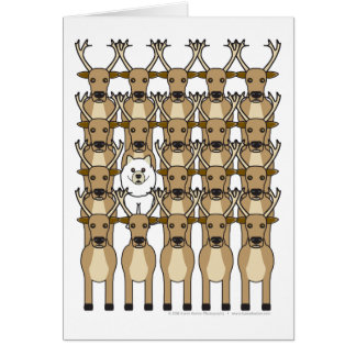 Samoyed in the Reindeer Card
