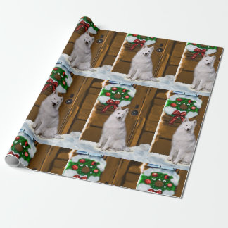 Samoyed on Porch Christmas Wrapping Paper