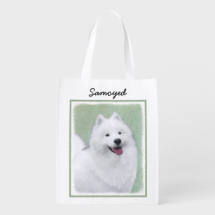 fe6150d88 Samoyed Painting - Cute Original Dog Art Reusable Grocery Bag