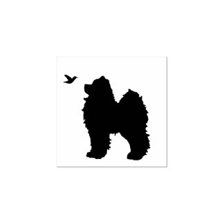 "Samoyed Pup & Bird Stamp; 1"" up Sq. Pad Sep. Rubber Stamp"