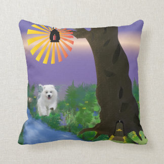 "Samoyed Pupply Polyester Throw Pillow, 16"" x 16"" Throw Pillow"