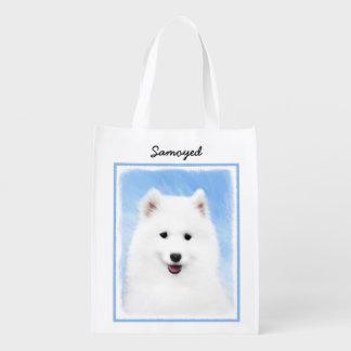 Samoyed Puppy Painting - Cute Original Dog Art Reusable Grocery Bag