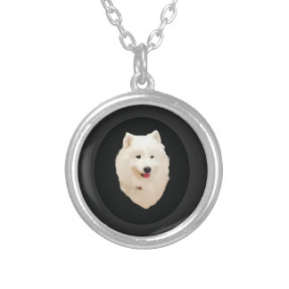 Samoyed Silver Plated Necklace; Hand painted image Silver Plated Necklace