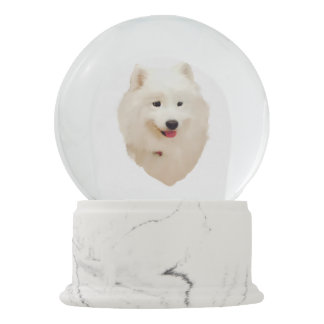 "Samoyed Snow Globe with Red Heart Confetti ""Snow"""