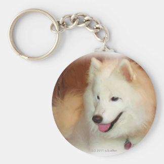 Samoyed, with Digital Oil Painting Effects, key Basic Round Button Key Ring