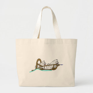 Samoyeds in Sled Large Tote Bag