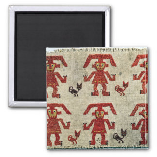 Sample of Lambayeque fabric with a figure Square Magnet