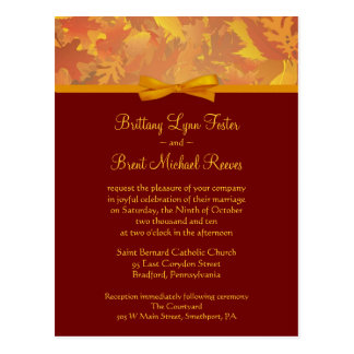 Sample Wedding Invitation - Autumn Leaves Postcard