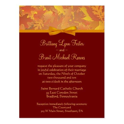 Sample Wedding Invitation - Autumn Leaves Post Card