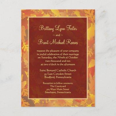 Sample Wedding Invitation Autumn Mist Frame Postcard by SquirrelHugger