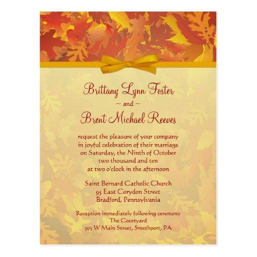 Sample Wedding Invitation - Autumn Mist - Gold Postcard