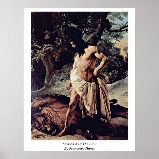 Samson And The Lion By Francesco Hayez Poster