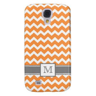 Samsung Custom Monogram Grey Orange Chevrons Samsung Galaxy S4 Covers