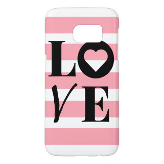 Samsung Galaxy 7 Case - LOVE - Pink & White Stripe