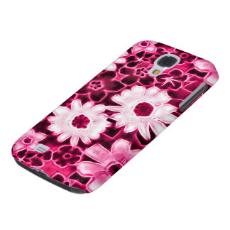 Samsung Pink Neon Flowers Fractal Art Galaxy S4 Cases