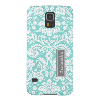 Samsung Teal Damask Custom Name Galaxy S5 Covers