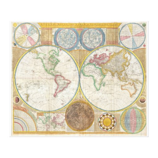 Samuel Dunn Wall Map of the World in Hemispheres Gallery Wrap Canvas