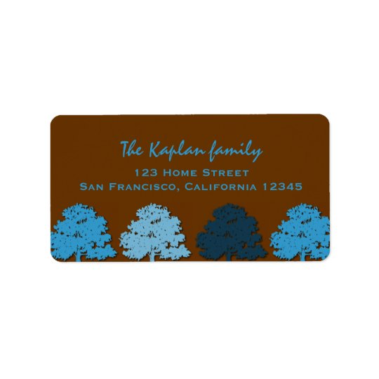 Samuel Lucas Wedding Bar Mitzvah Blue Trees Address Label