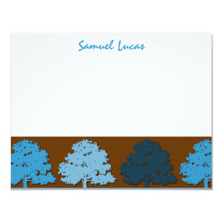 Samuel Thank You Bar Mitzvah  Wedding Blue Trees Card