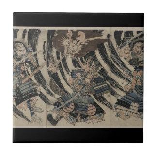 Samurai and Demon circa 1818 Ceramic Tile