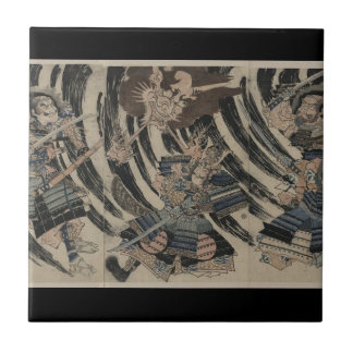 Samurai and Demon circa 1818 Small Square Tile