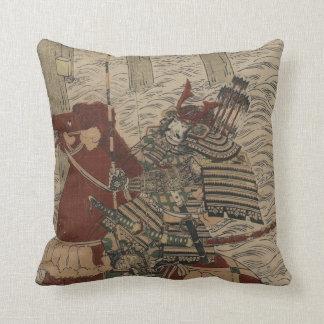 Samurai and Horse in Water circa 1772 Cushion