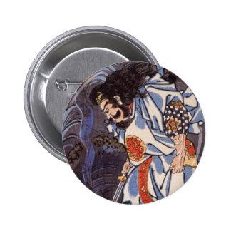 Samurai and Water Dragon Vintage Japanese Print 6 Cm Round Badge