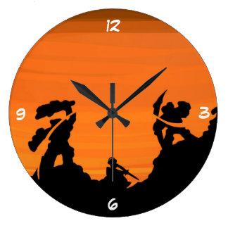 Samurai at sunset clocks