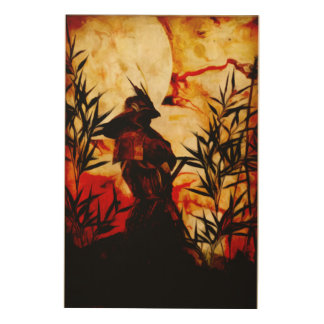 Samurai before battle wood print