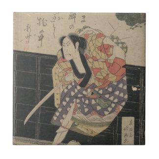 Samurai Breaking Through a Wall circa 1818 Tile