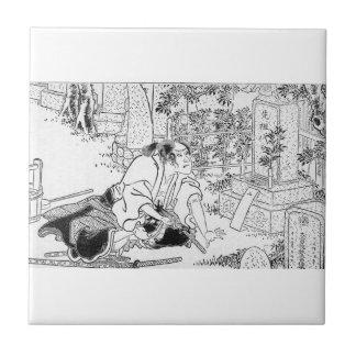 Samurai committing Hara-Kiri Ceramic Tile