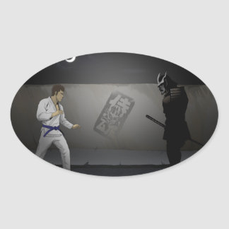 Samurai Damashi  Martial Artist vs Samurai Oval Sticker