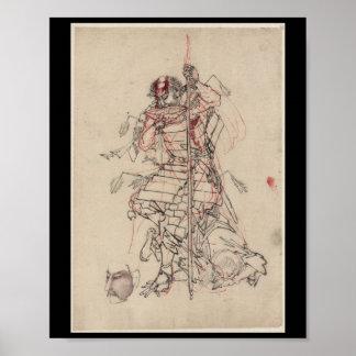 Samurai drinking Sake circa 1800s Posters