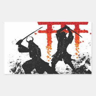 Samurai Duel Rectangular Sticker