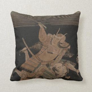 Samurai Fighting at Night circa 1770 Cushion