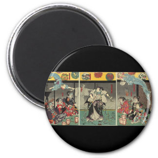 Samurai fighting ghosts and snakes c. 1850 6 cm round magnet