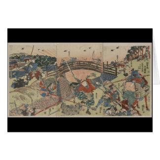 Samurai Fighting with Two Swords circa 1810 Japan Card